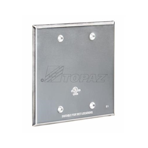 Topaz WC2B Double Gang Weatherproof Cover, Blank, Gray, Die Cast Aluminum