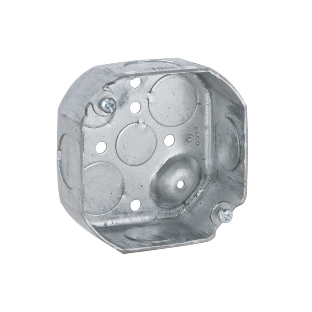 Topaz G4451, 4″ Octagon Drawn Boxes 1-1/2″ Deep 1/2″ KO, Galvanized Steel