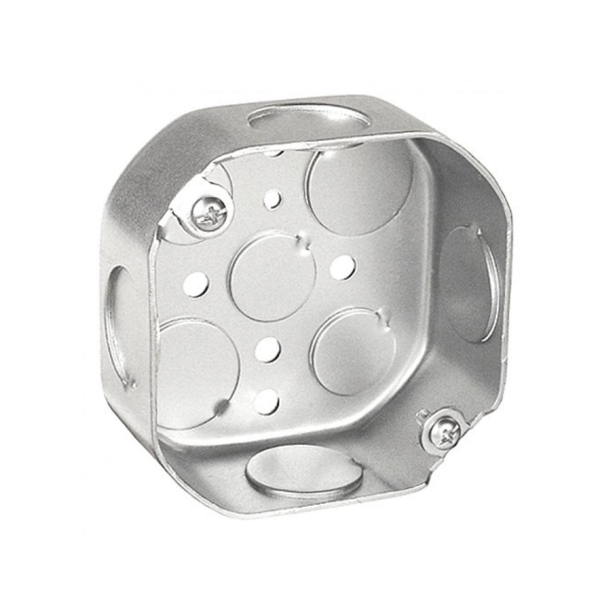 Topaz G4452, 4″ Octagon Drawn Boxes 1-1/2″ deep 3/4″ KO, Galvanized Steel