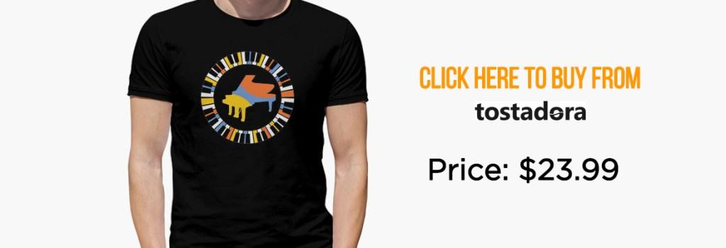 Colourful circular piano T-shirt