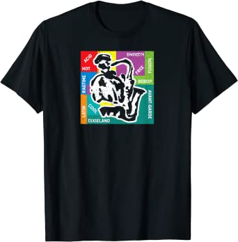 Fancy Saxophone Player with Jazz Genres T-Shirt