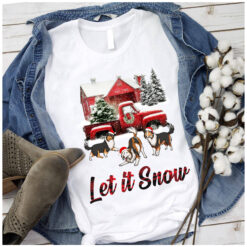 Let it snow Collie Christmas T Shirt 100% Cotton