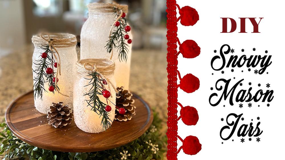 DIY Snowy Mason Jar Luminaries get anyone in love