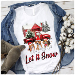 Let-It-Snow-Beagle-Dog-t shirt-cotton
