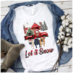 Let It Snow French BullDog Chrsitmas T shirt