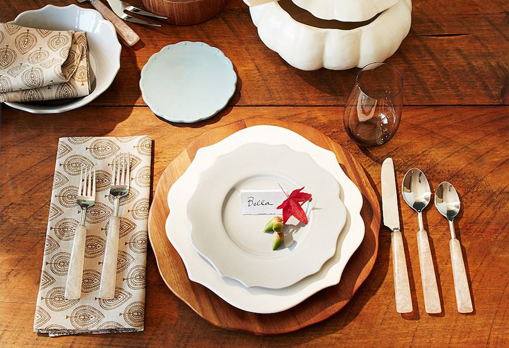 Simple white dishes still bring the elegance