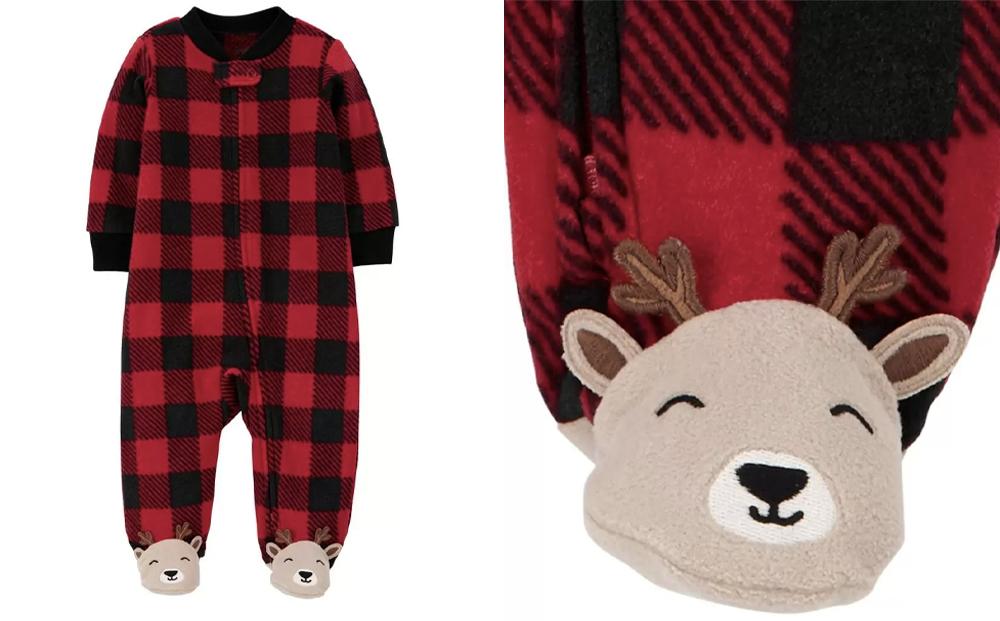 1-Piece-Buffalo-Check-Zip-Up-Fleece-Top-1-Christmas-pyjamas-toddler-girl