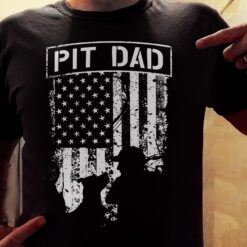Pitbull Dad Shirt Pit Dad American Flag Black