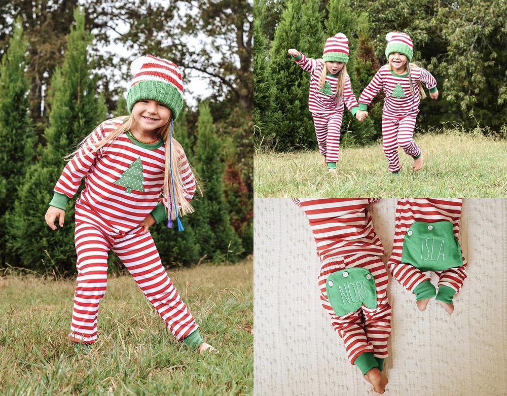 The-Red-Stripe-With-Green-Pajamas-Great-Christmas-pyjamas-toddler-girl