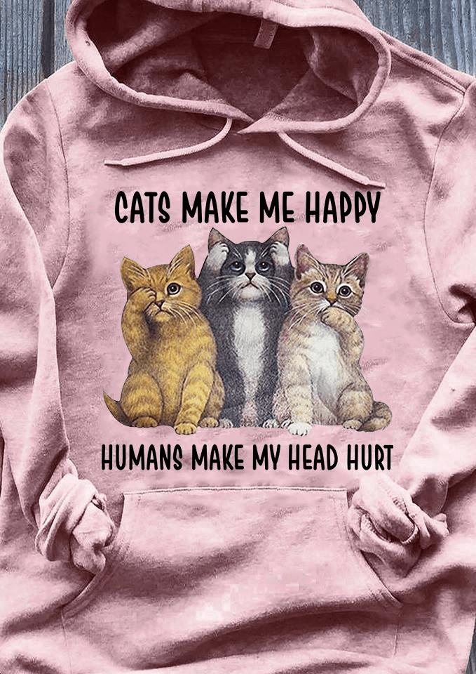 Cats Shirt Cats Make Me Happy Humans Make My Head Hurt