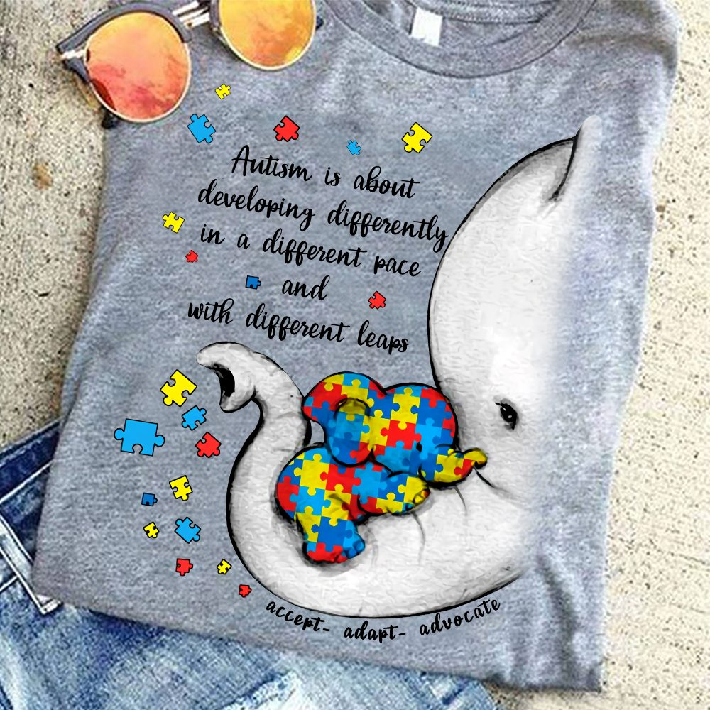 Elephant Autism Shirt Developing Differently Different Pace