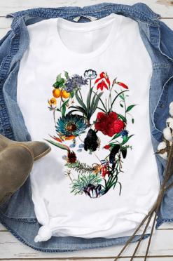 Floral Skull Shirt Sugar Skull Flowers Tulip Rose