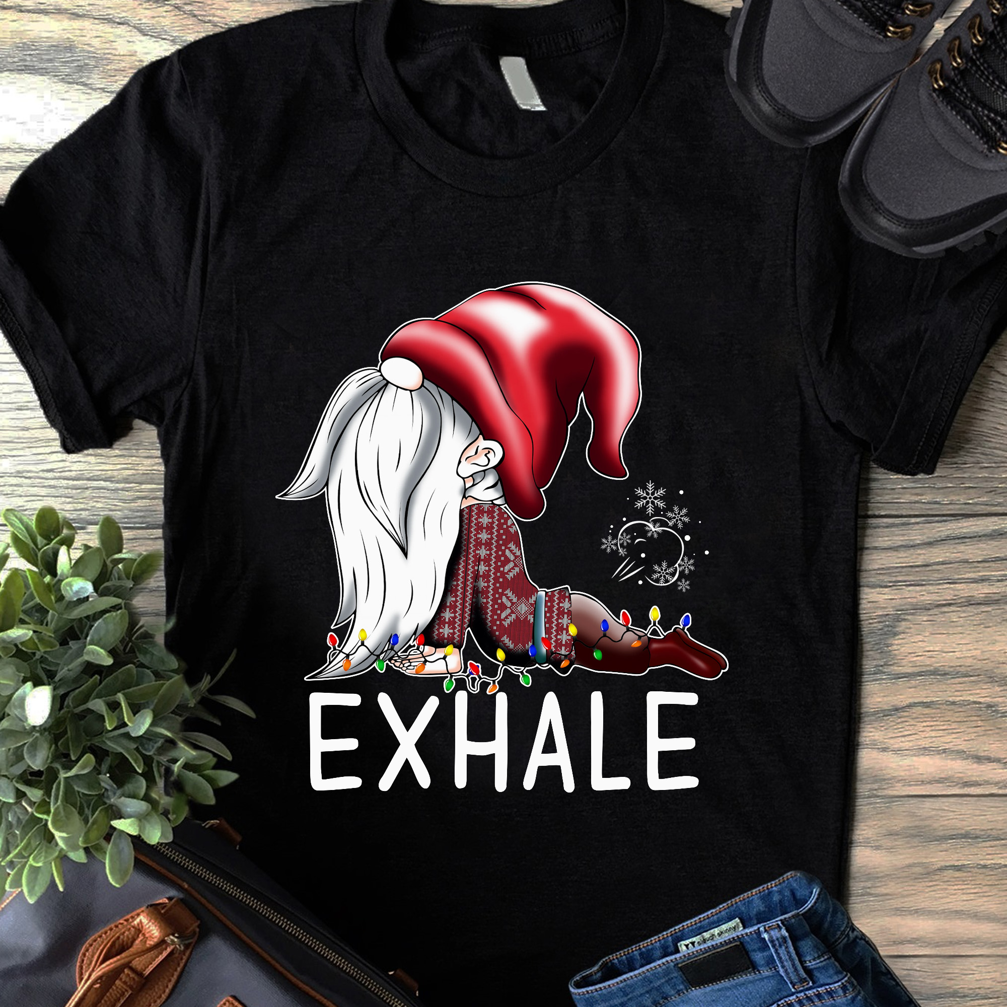 Funny Christmas Yoga Shirt Gnome Farting Exhale