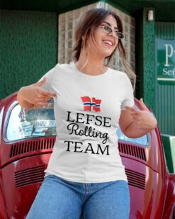 Funny Lefse Shirt Lefse Rolling Team Norway Flag