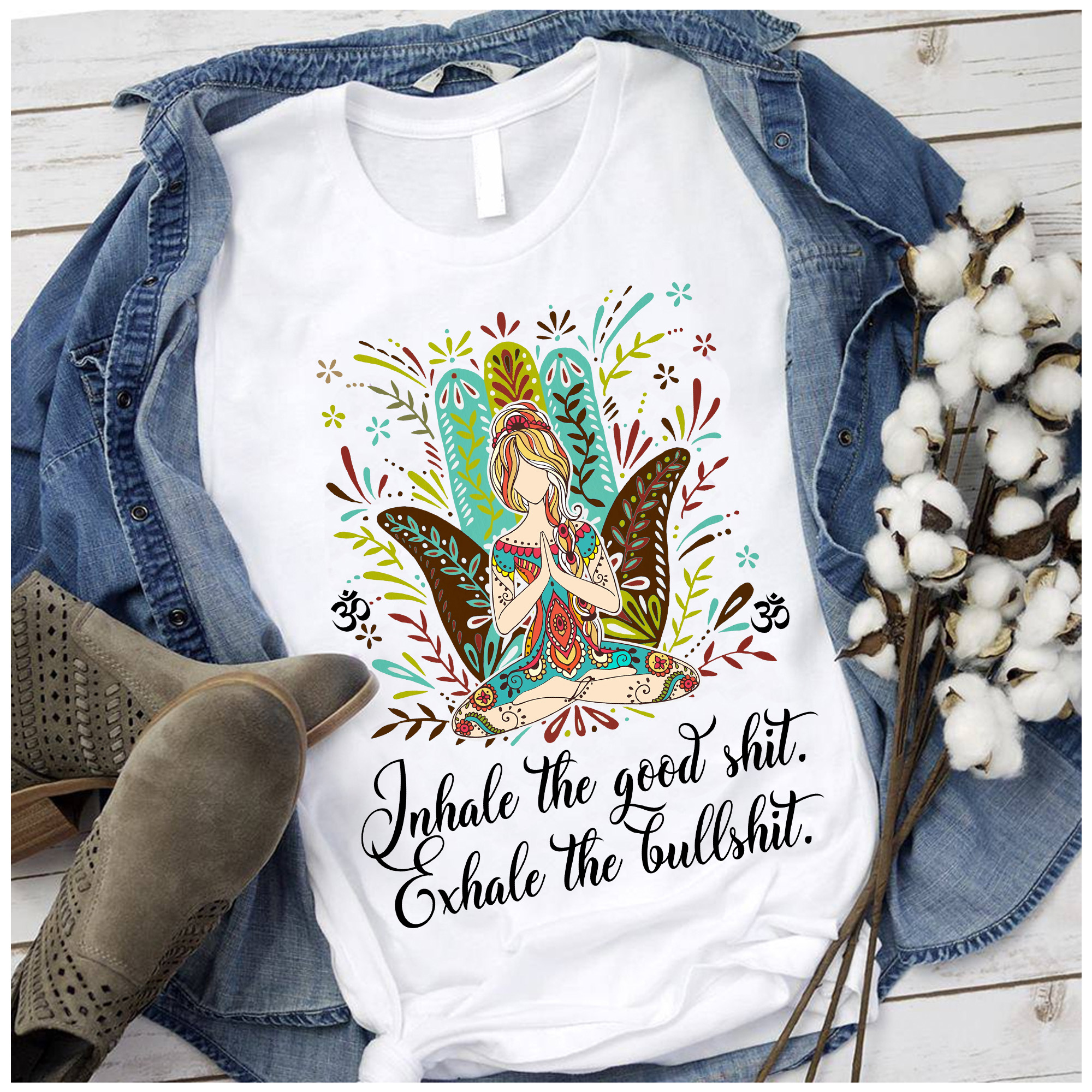 Hippie Girl Yoga Shirt Inhale The Goodshit Exhale The Bullshit