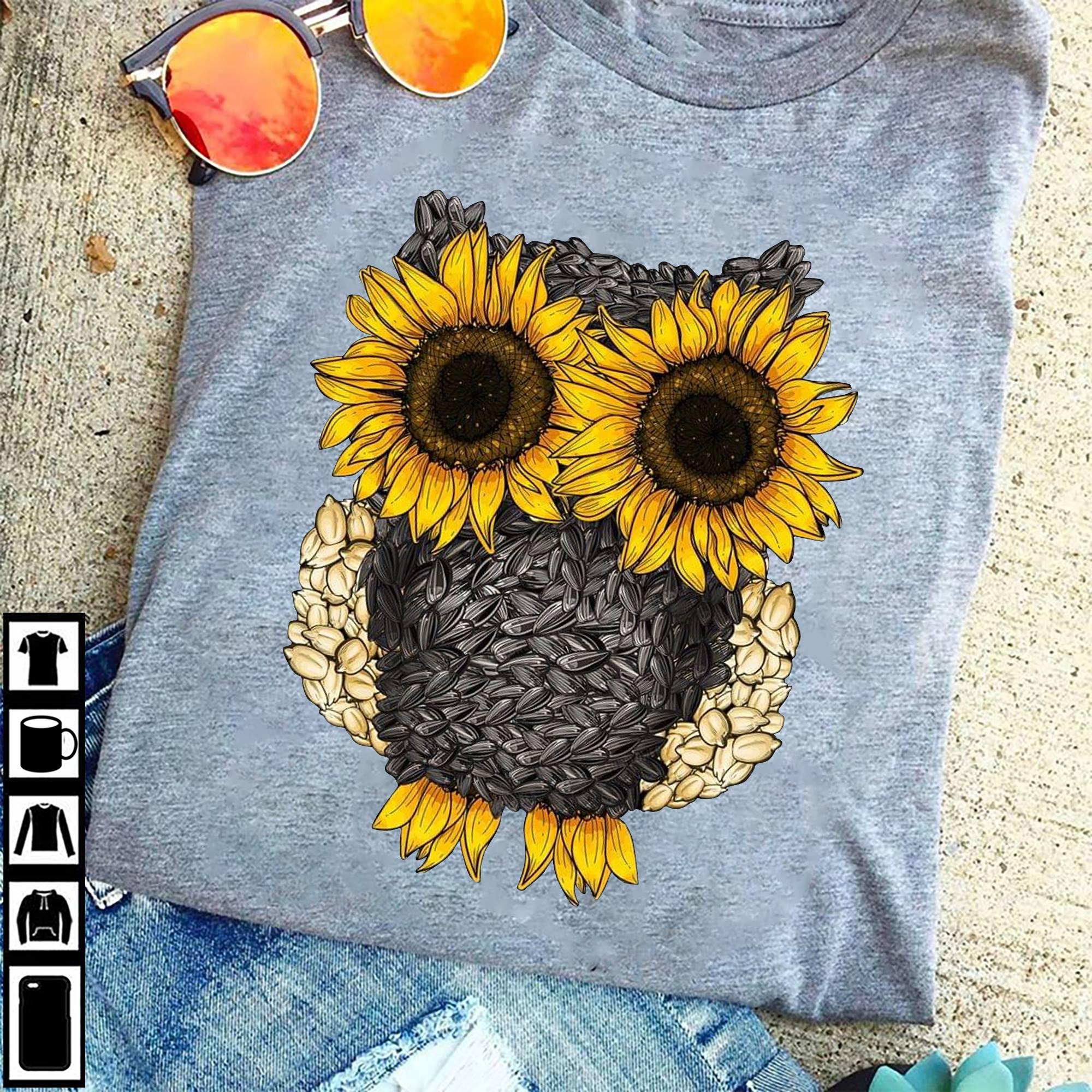 Sunflower Owl Shirt Owl Made Of Sunflower Seeds