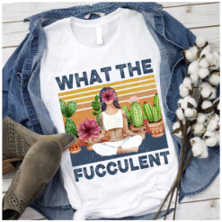 Vintage Girl Yoga Shirt What The Fucculent Lotus Catus