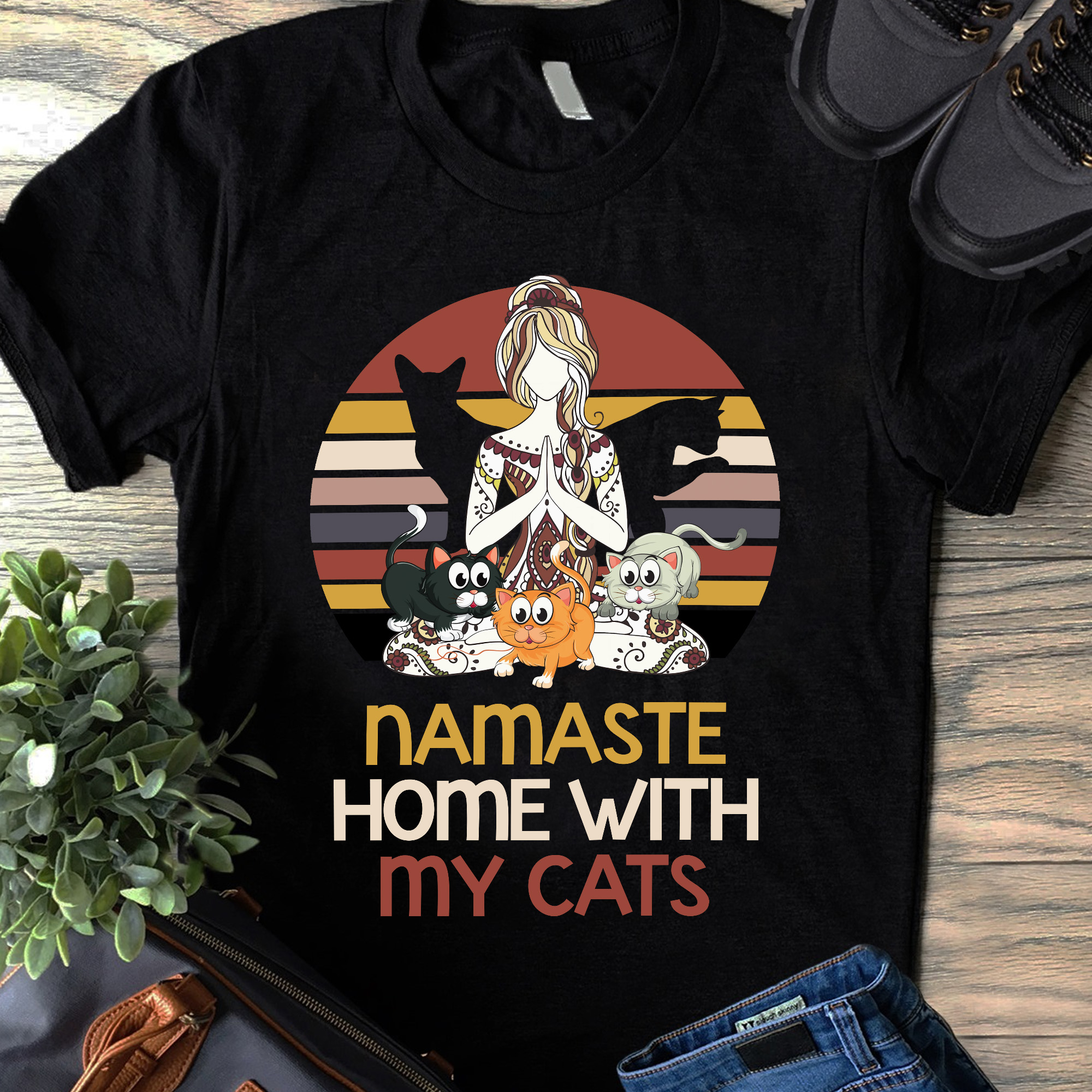 Vintage Namaste Shirt Namaste Home With My Cats