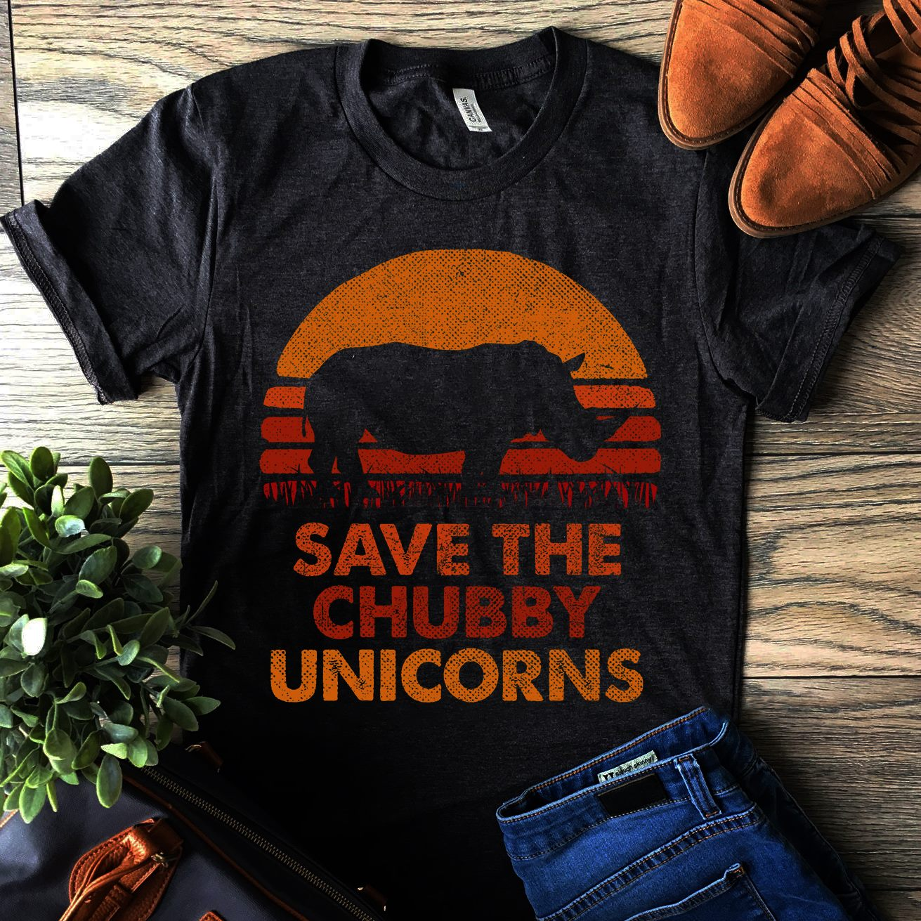 Vintage Save The Chubby Unicorn Shirt Rhino Conservation