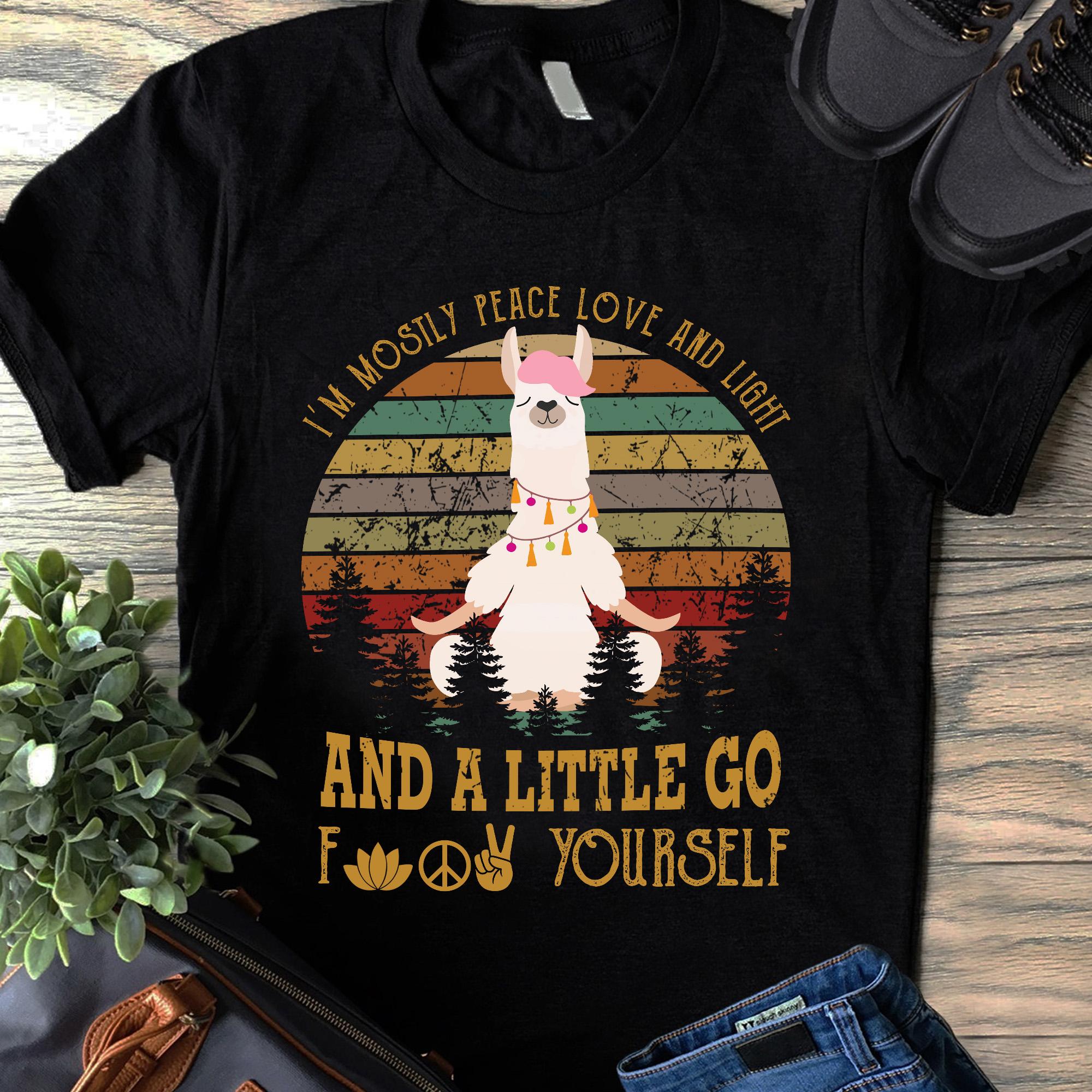 Vintage Sheep Yoga Shirt Mostly Peaceful Go Fuck Yourself