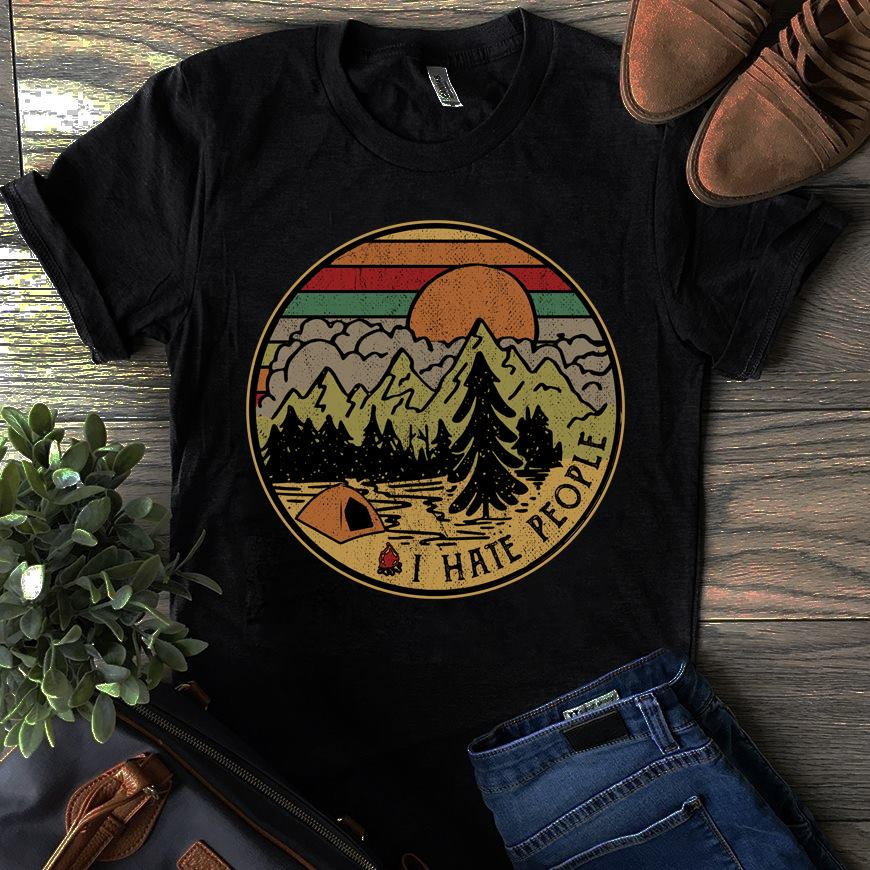 Vintage Mountain Sunset Camping Shirt I Hate People
