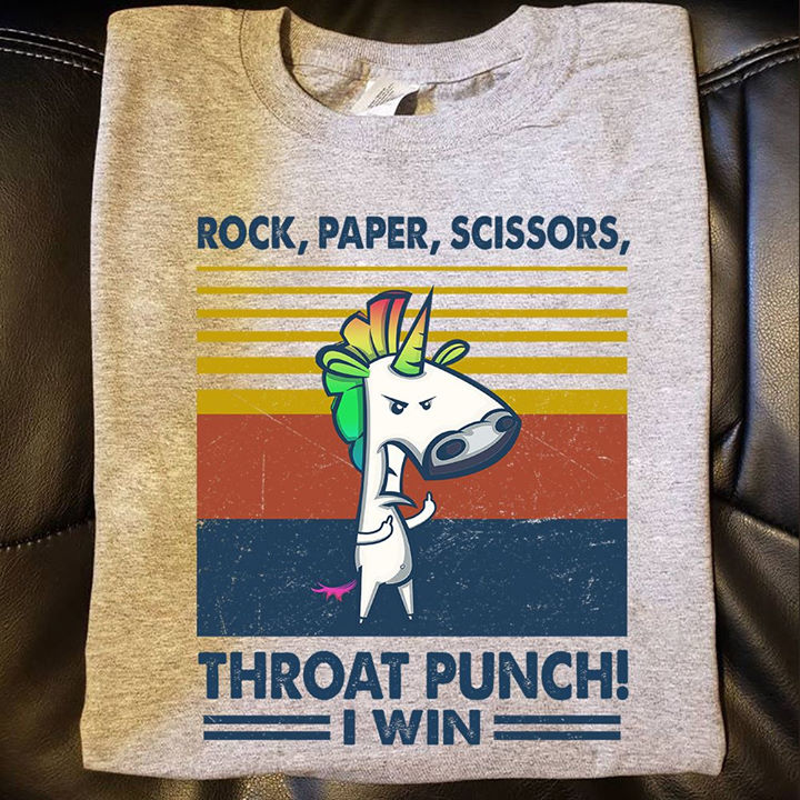 Vintage Unicorn Shirt Rock Paper Scissors Throat Punch I Win