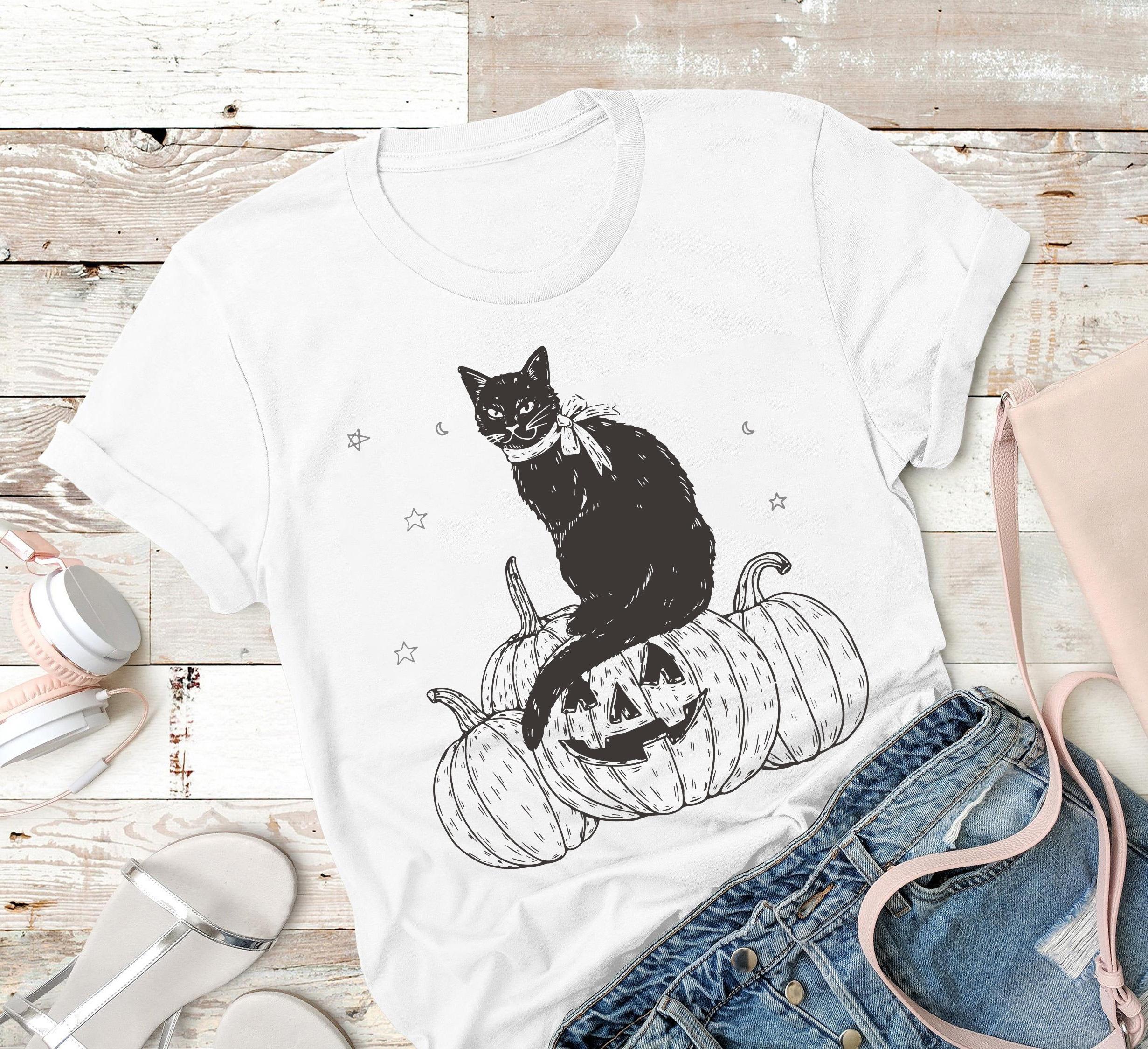 Black Cat Shirt Cat Pumpkin Halloween