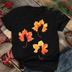 Black Cat Shirt Maple Leaves