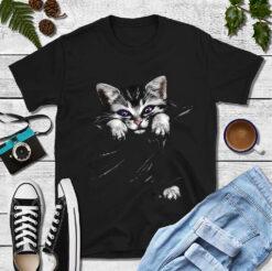 Black Cat Shirt Purple Eyes Cat