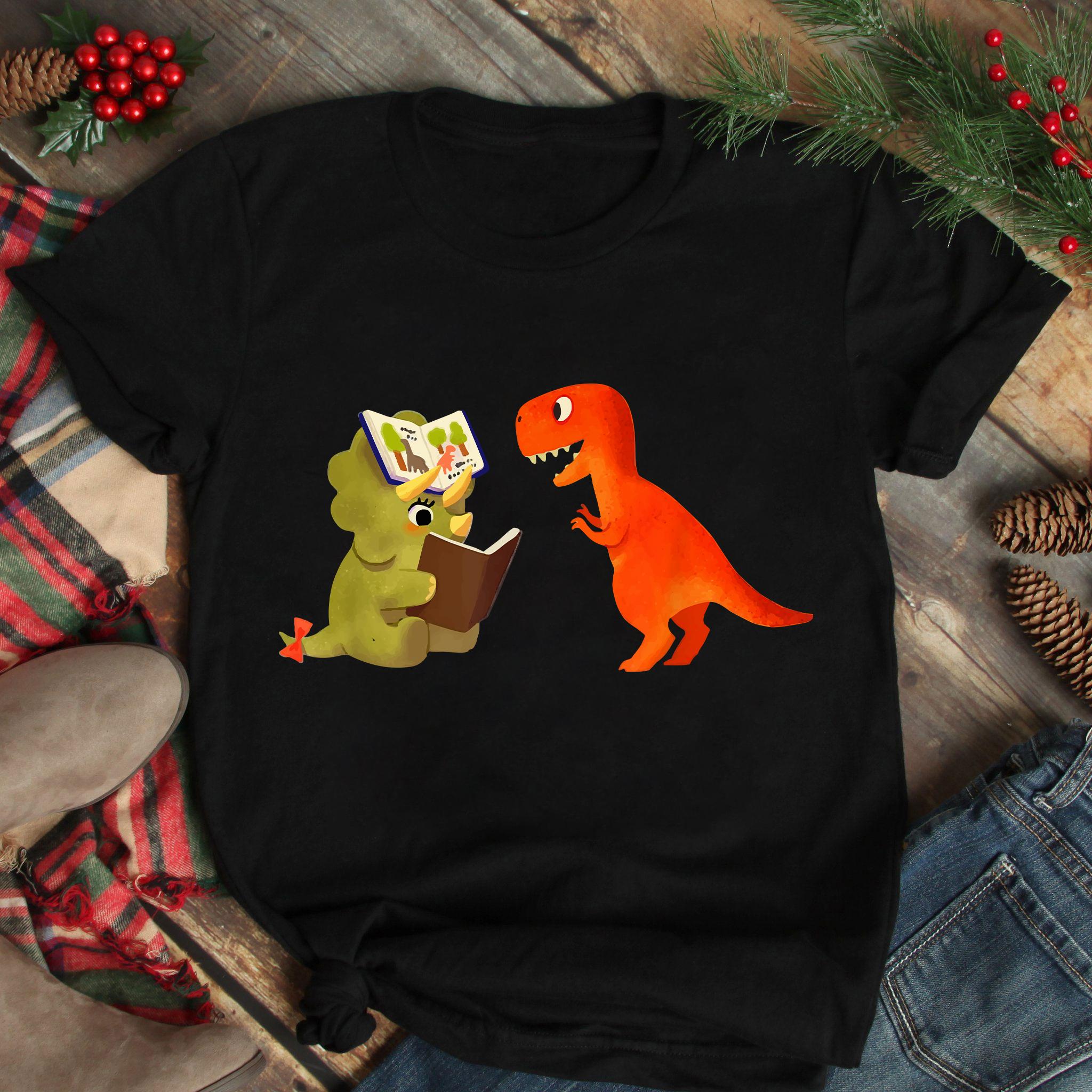 Book Shirt Dinosaur Rhino Reading