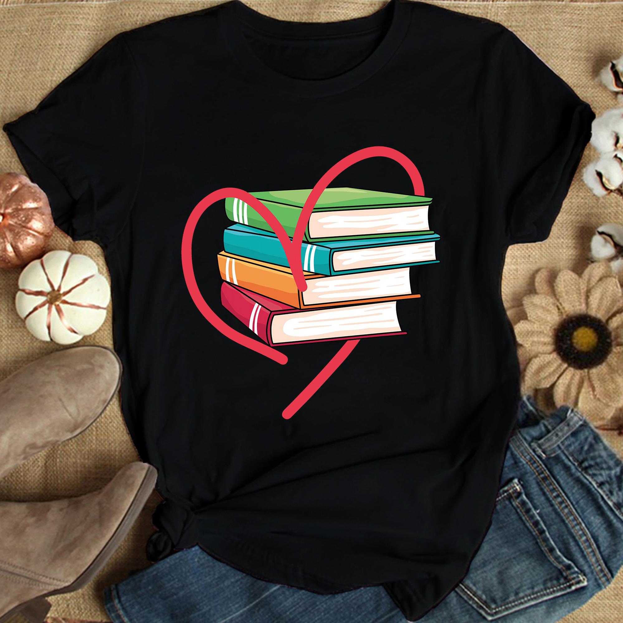 Book Shirt Heart Love Books