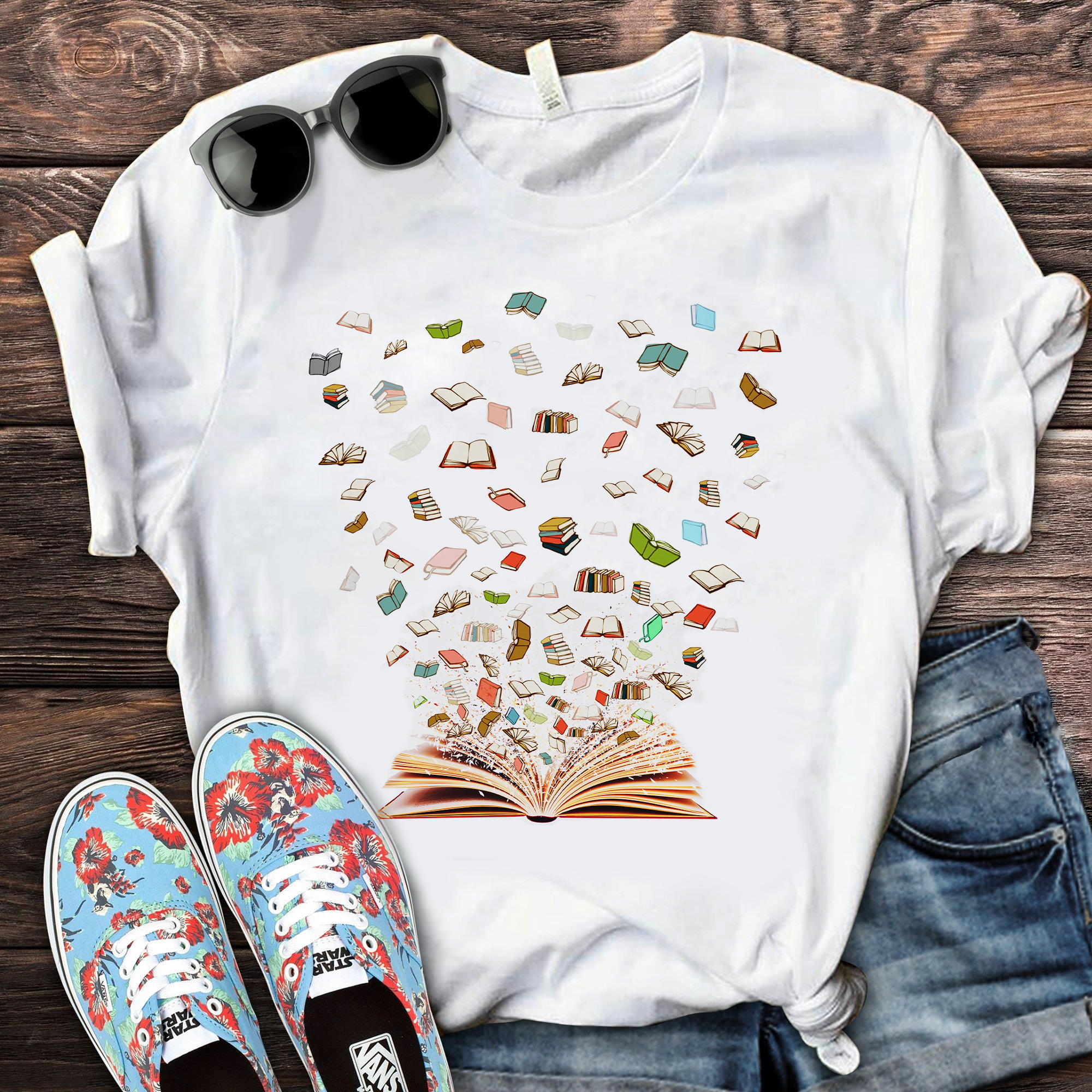 Book Shirt Open Flying Books