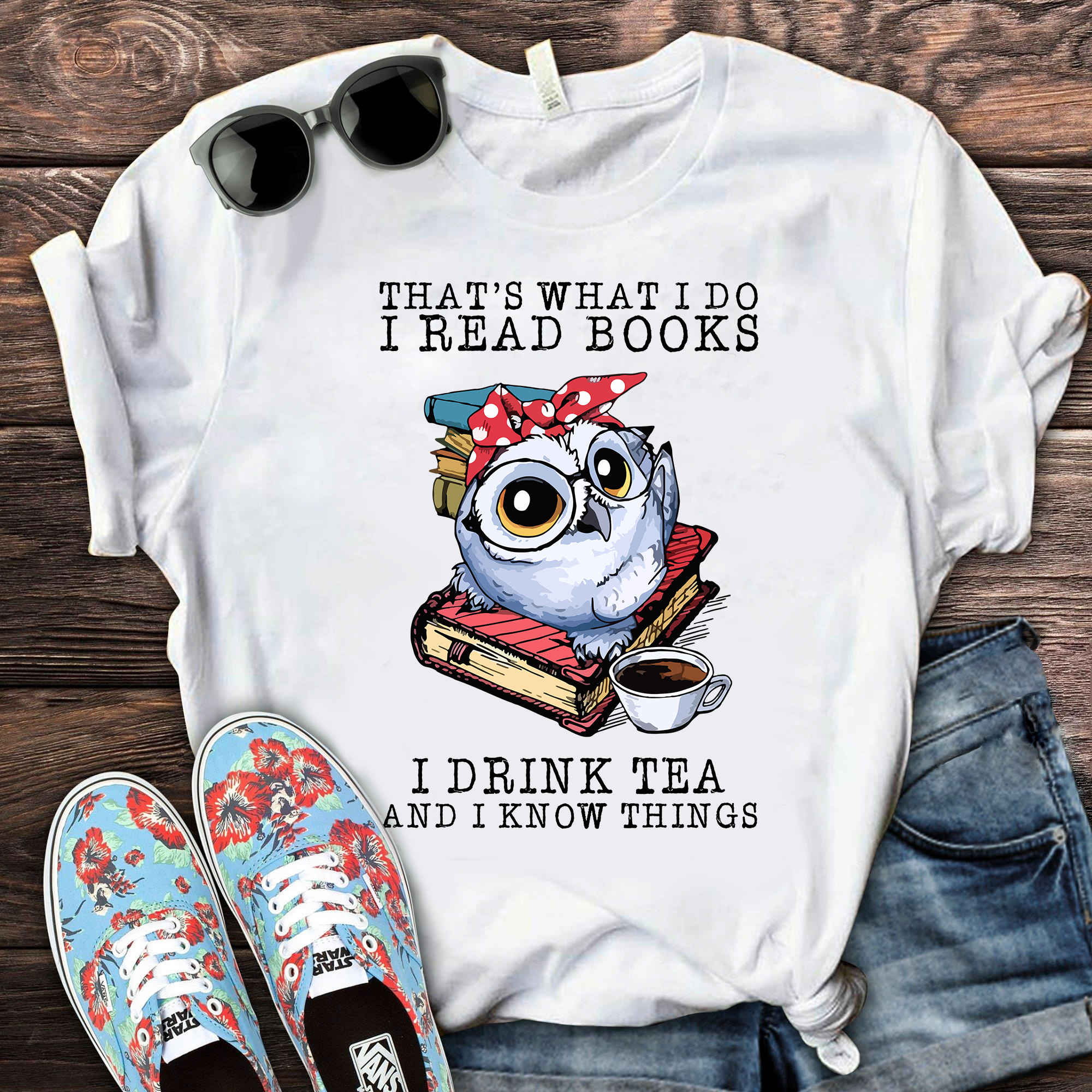 Book Shirt Owl Red Bandana Read Books Drink Tea