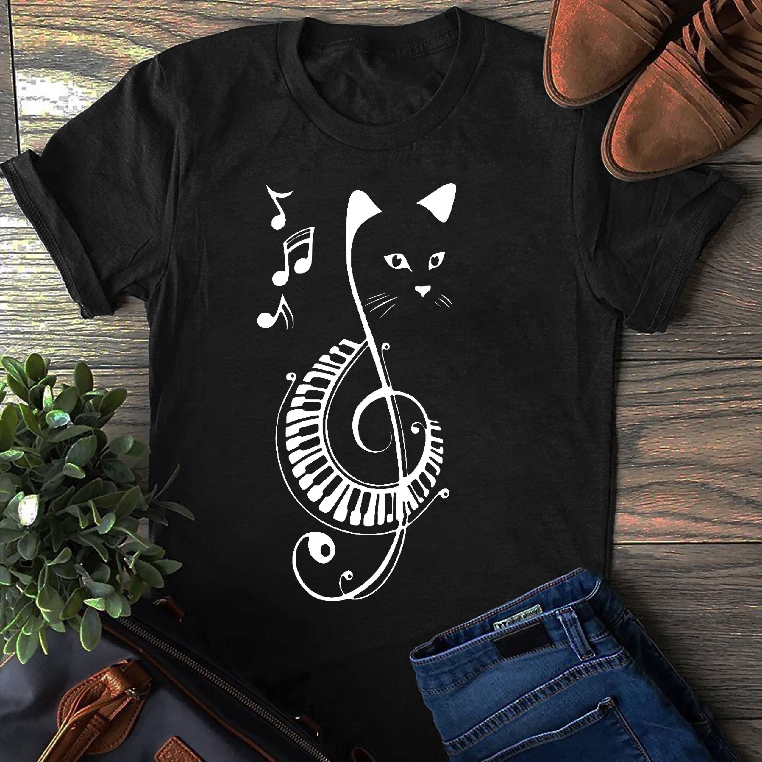 Cat Music Shirt Music Note
