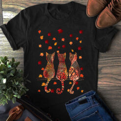 Cat Shirt 3 Cats Back Maple Leaves Falling