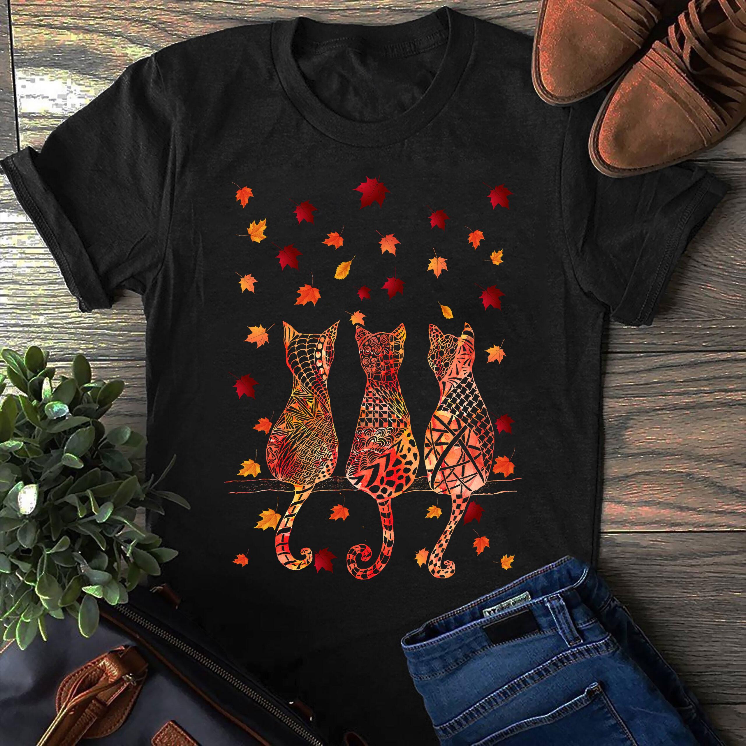Cat Shirt 3 Cats Back Maple Leaves Falling