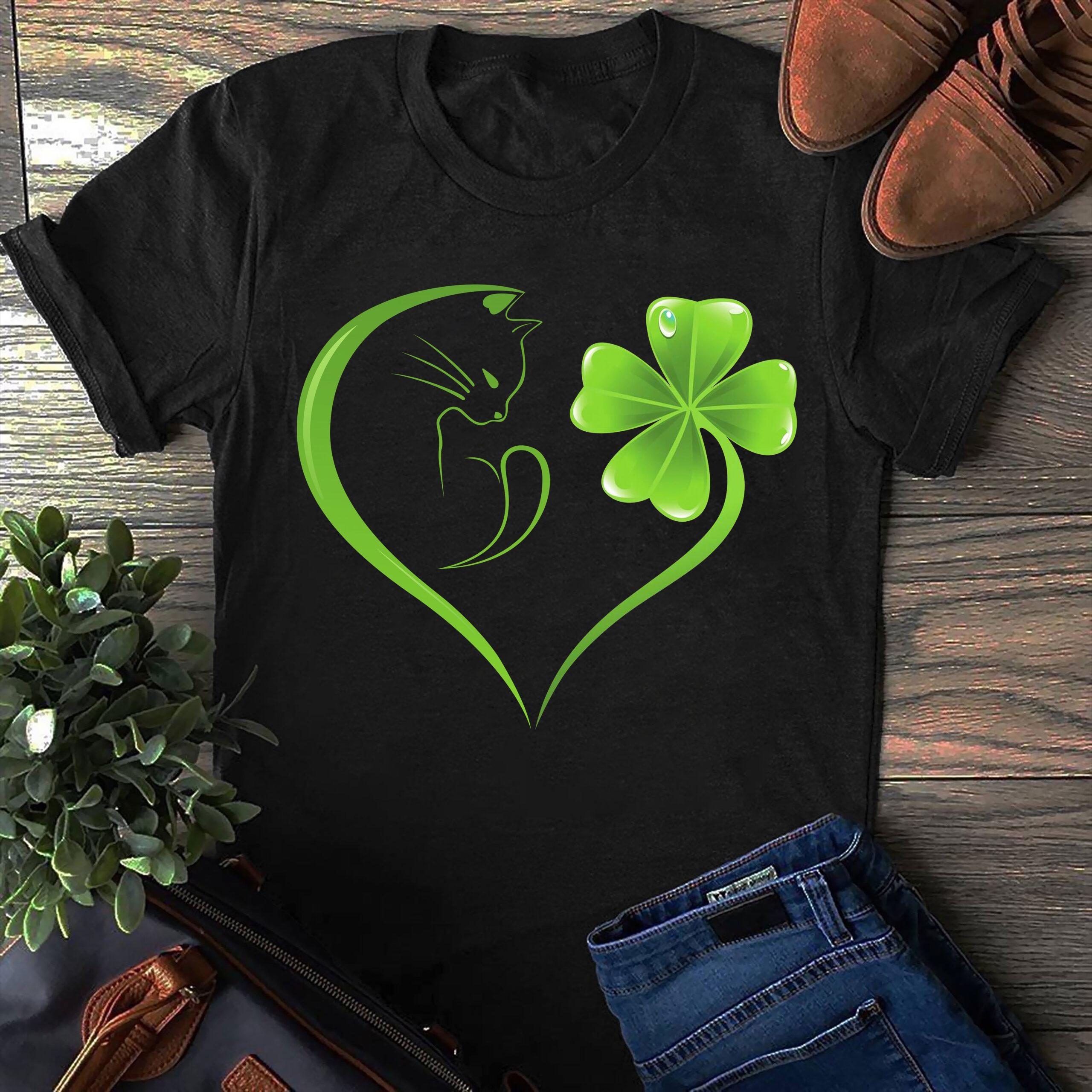 Cat Shirt Four Leaf Clover Irish St Patrick Day