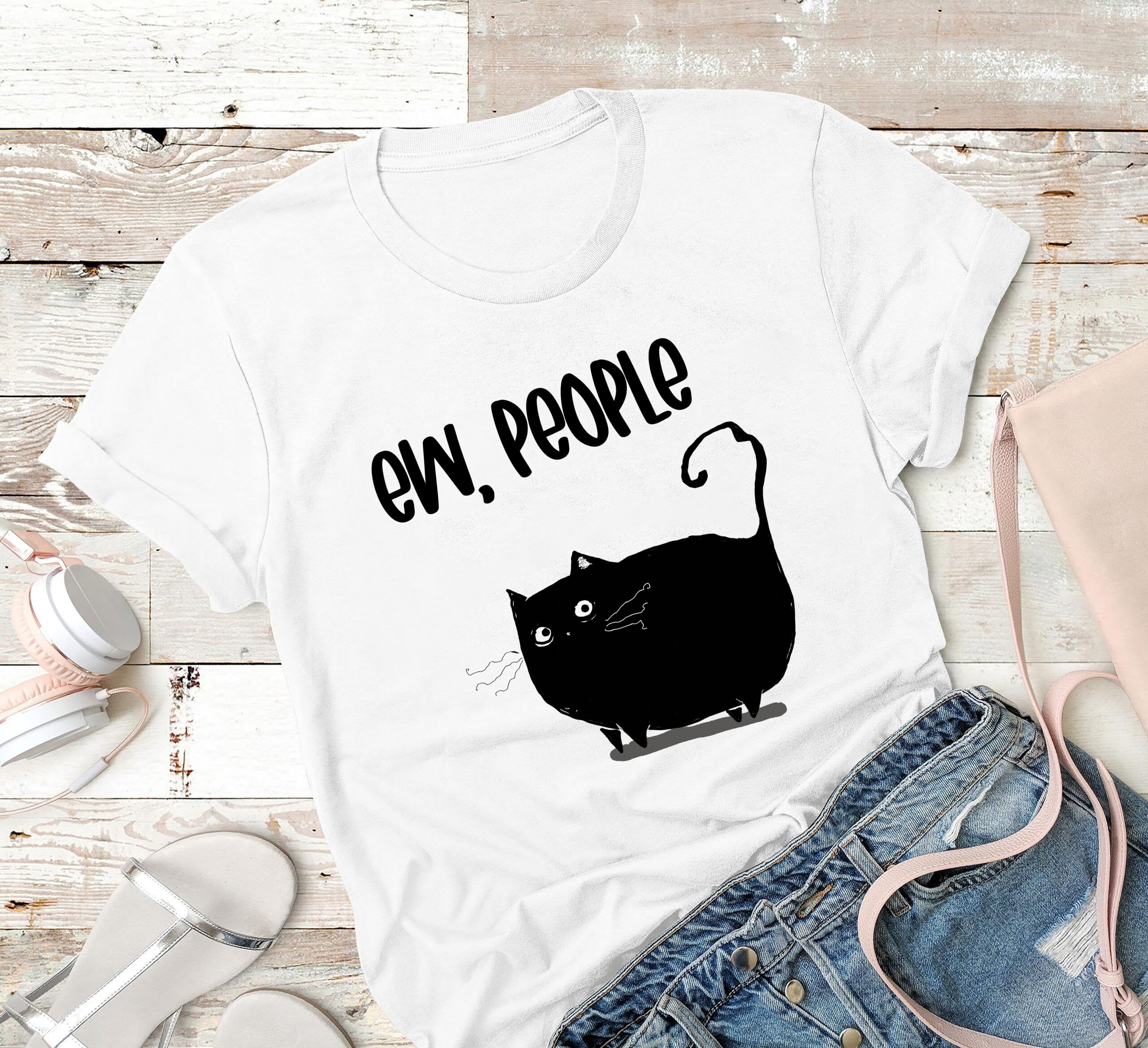 Fat Black Cat Shirt Ew People