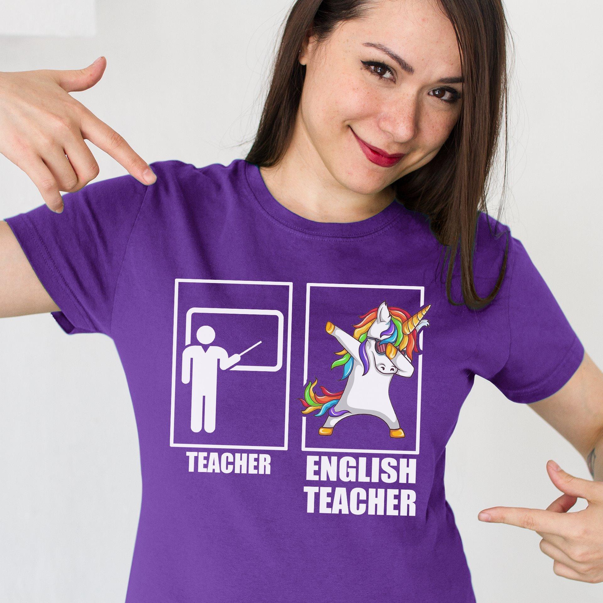 Funny Dabbing Unicorn English Teacher Shirt