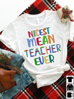 Funny Teacher Shirt Nicest Mean Teacher Ever