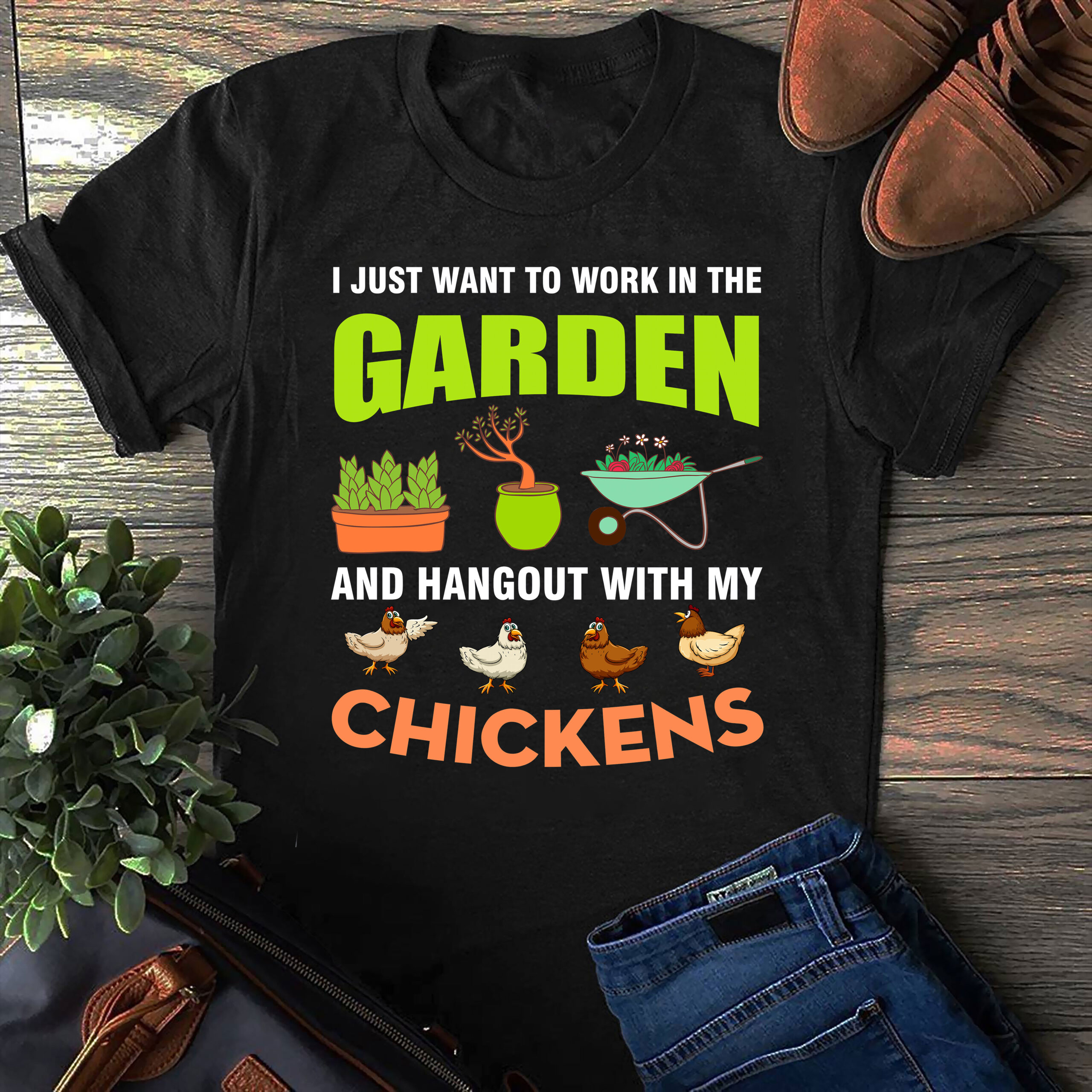 Garden Shirt Work In Garden Hang Out With Chickens