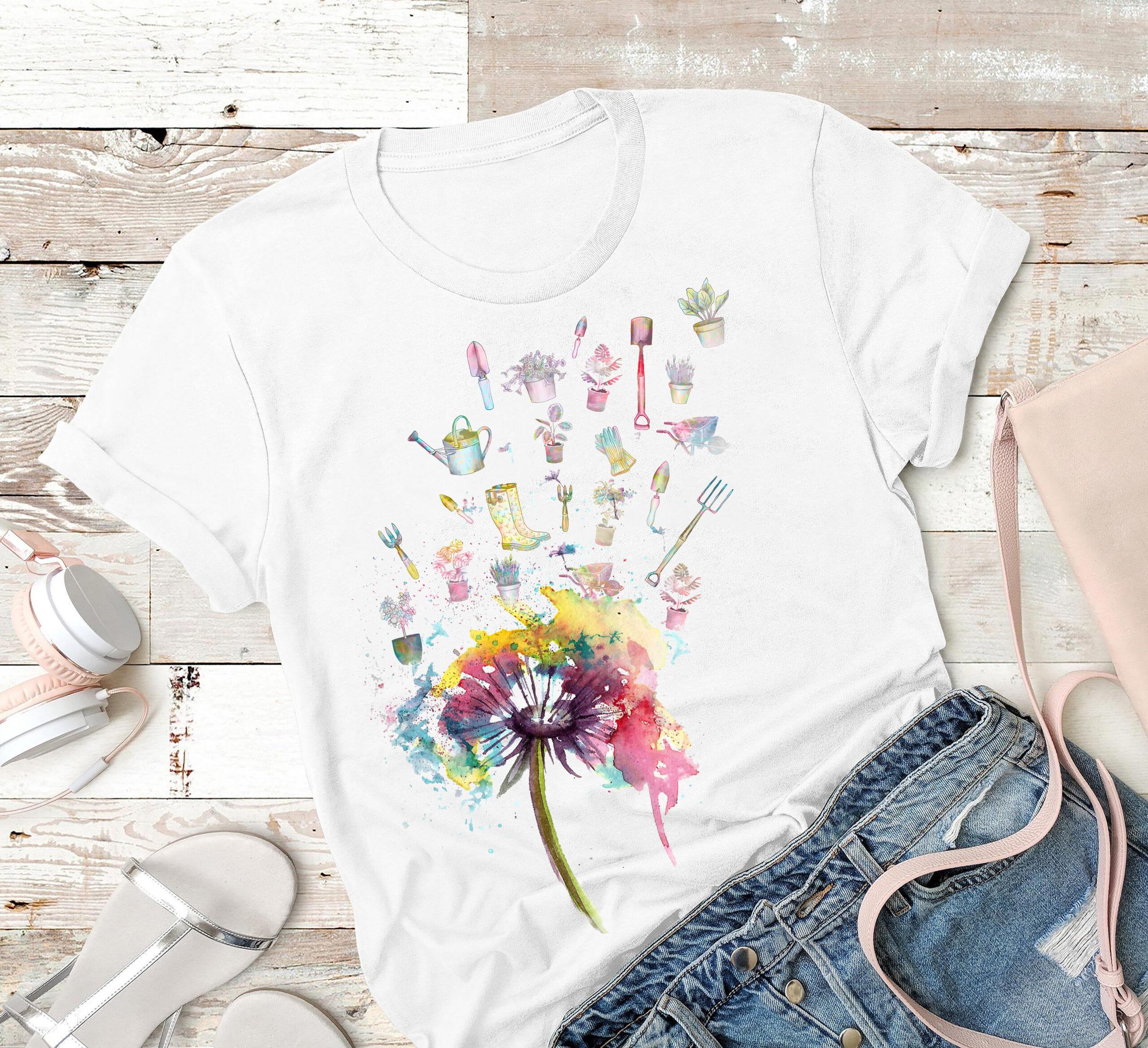Garden Shirt Watercolor Dandelion Gardening Tools Fly