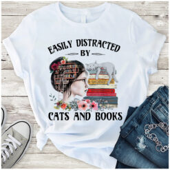 Lady Bookworm Shirt Distracted By Cats And Books