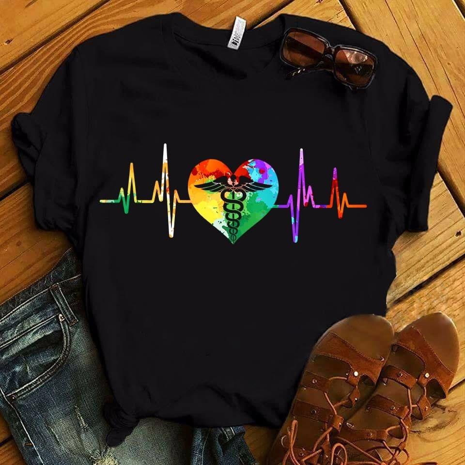 Nurse Shirt Caduceus Heartbeat