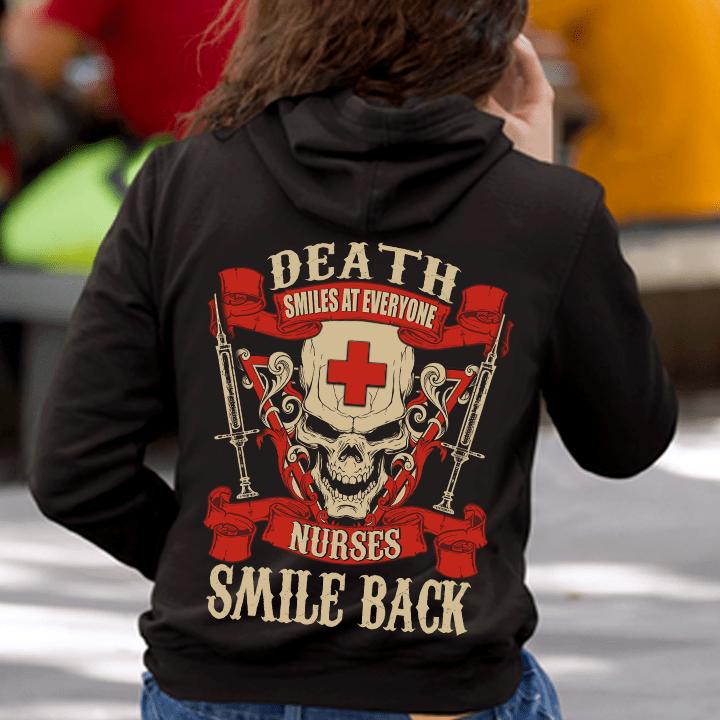 Skull Nurse Shirt Death Smiles At Everyone Nurses Smile Back