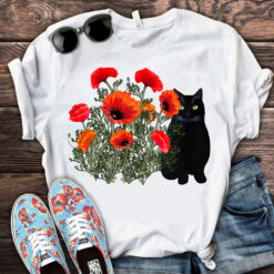 Black Cat And Flower Shirt