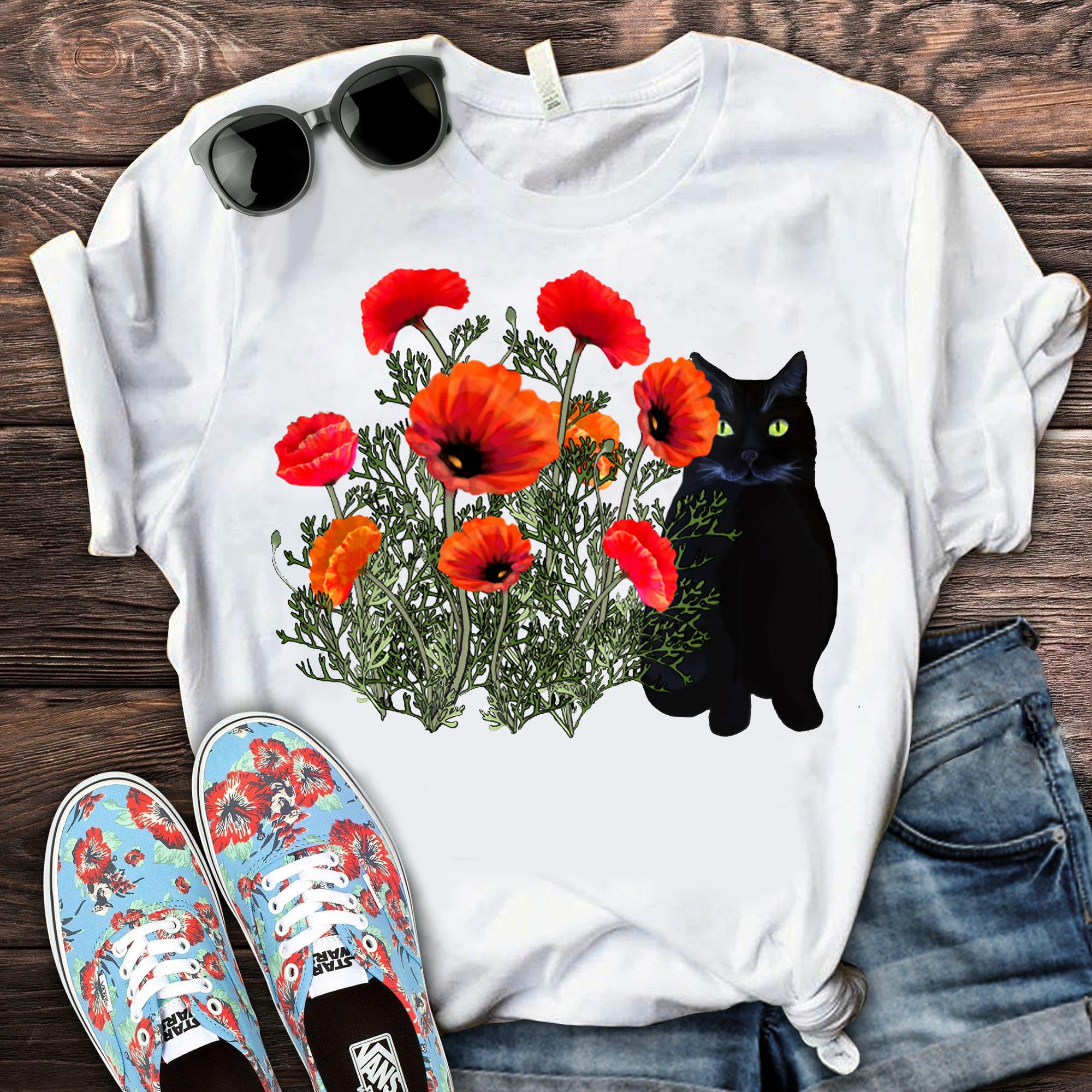 Black Cat And Flower Shirt
