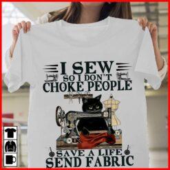 Black Cat I Sew So I Don't Choke People Shirt