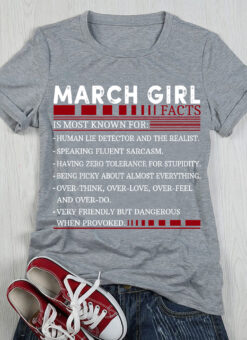 March Girl Facts Shirt Speaking Fluent Sarcasm