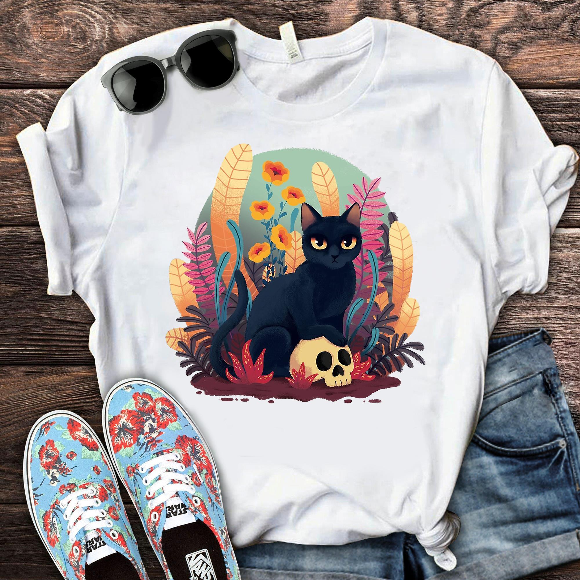 Black Cat With Skull Flower Garden Shirt